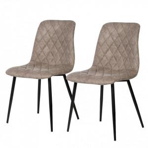 Set de 2 scaune tapitate Tervo, cappuccino