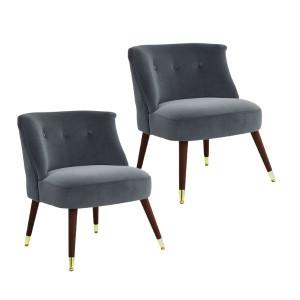 Set de 2 scaune tip fotoliu Maddox catifea/lemn, gri, 73 x 62 x 65 cm