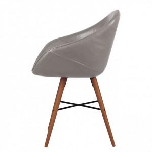 Set de 2 scaune tip fotoliu Restol I imitatie de piele/lemn masiv de fag, gri, 59 x 78.7 x 55 cm