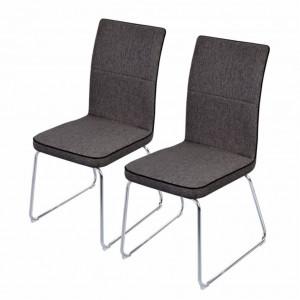 Set de 2 scaune Viry tesatura/ metal, gri, 45 x 97 x 62 cm