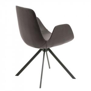 Set de 2 scaune Yasmin imitatie piele/otel, maro inchis/negru, 54 x 84 x 55 cm