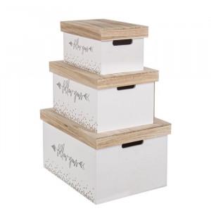 Set de 3 cutii Weatherford, lemn, alb/maro