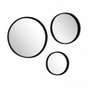 Set de 3 oglinzi negru/auriu Ricos