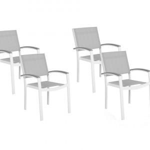 Set de 4 scaune de gradina PERETA, PVC/poliester, albe/gri, 46 x 50 x 86 cm