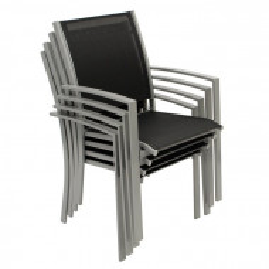 Set de 4 scaune de terasa Vreeland, metal, negre, 89 x 55 x 64 cm