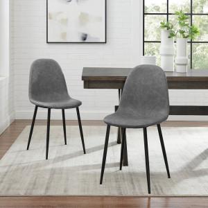 Set de 4 scaune Moody, textil, gri/negre, 87 x 44 x 45 cm