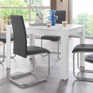 Set de living Lynn/Doris, 4 scaune si o masa, alb/gri antracit, 120 x 80 x 75 cm