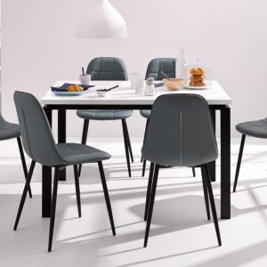 Set de living Sabine/Luna 4 scaune si o masa din lemn/metal/piele sintetica, gri/alb