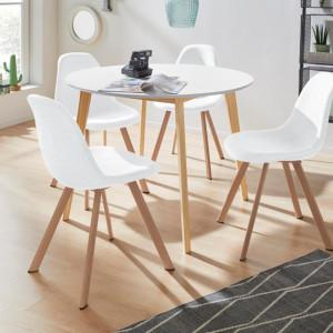 Set de living Veneto / Cody masa + 4 scaune, MDF/tesatura, alb, diamentru 105 cm