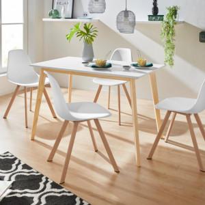 Set de living Veneto / Cody masa + 4 scaune, MDF/tesatura, alba, 120/70/76 cm