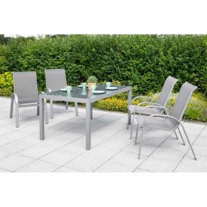 Set de masa si 4 scaune Brayton, gri/argintiu