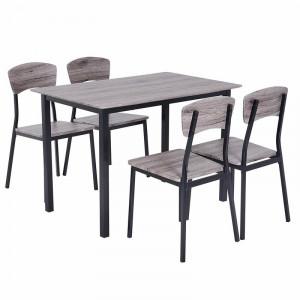 Set de masa si 4 scaune Prentis, negru / gri