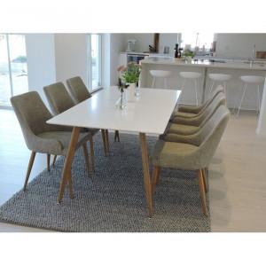 Set de masa si 6 scaune Australis, lemn, bej