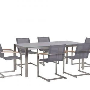 Set de masa si 6 scaune pentru gradina Cosolet, gri/argintiu