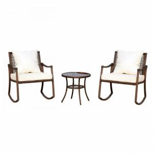 Set de masuta si 2 scaune Arielle, maro/crem