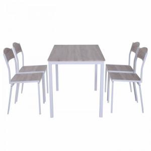 Set de o masa si 4 scaune Randles, alb/maro