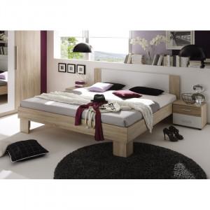 Set de un pat si 2 noptiere Lauderhill, bej/alb, 85 x 185 x 204 cm