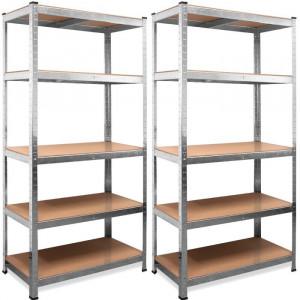 Set Deuba 2 Rafturi metalice 5 nivele de depozitare 180x90x40 cm, argintii/bej, metal zincat