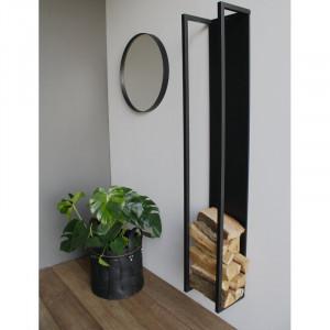 Suport pentru lemne, metal, negru, 167cm H x 29cm W x 23,5cm D