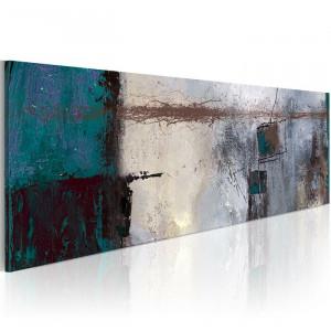 "Tablou ""Accente turcoaz"", panza, 40 x 120 x 1,4 cm"