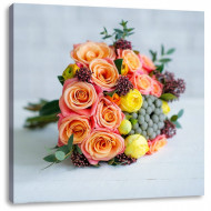 "Tablou ""Buchet de trandafiri"", roz/galben, 60 x 60 cm"