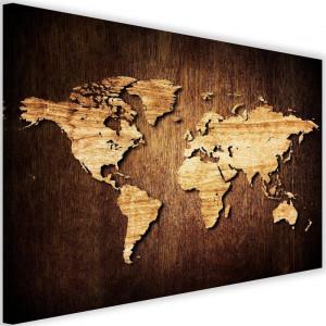 "Tablou ""World Map"", maro, 60 x 90 x 3 cm"