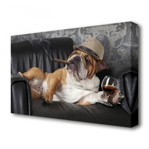 Tablou Bulldog, poliester, negru/maro, 81,3 x 121,9 x 4,4 cm