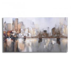 Tablou New York, panza, gri/maro, 69 x 3,5 x 130 cm