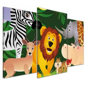 "Tabolu ""Animale din jungla"", MDF/panza, 60 x 100 x 2 cm"