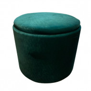 Taburet Bella, lemn masiv/ burete/ catifea, verde smarald, 40 x 54 cm