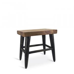Taburet Gorman, lemn, maro/negru, 45 x 45 x 27 cm