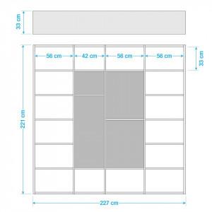 Biblioteca Emporior VI Pal/HDF, negru/alb, 226,7 x 221,3 x 33,2 cm