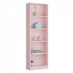 Biblioteca Hugo melamina, roz, 52 x 25 x 180 cm