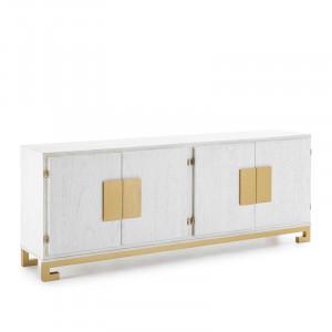 Bufet Shellman, lemn masiv, alb/ auriu, 78 x 201 cm