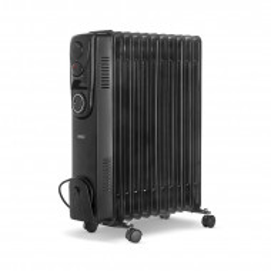 Calorifer electric cu termostat reglabil, oțel, 2500 wați, negru,