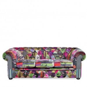 Canapea Chesterfield cu 3 locuri, multicolor, 200 x 71 cm