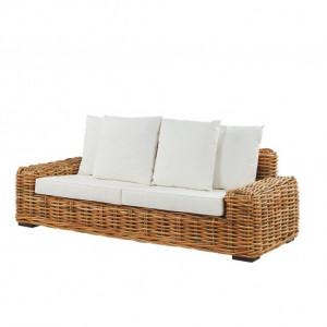 Canapea din ratan Forli, cu 3 locuri, maro deschis