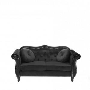 Canapea SKIEN, catifea, neagra, 91 x 165 x 83 cm