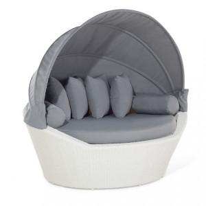 Canapea SYLT, tip cosulet, ratan PVC alb