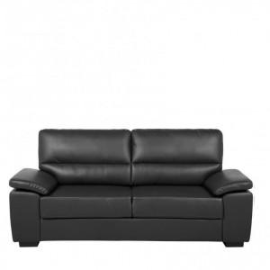 Canapea Vogar, piele ecologica, negru, 90 x 195 x 74 cm