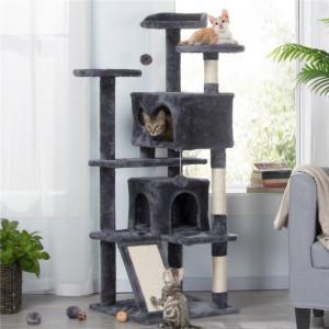 Casa pentru pisici Bernard, gri inchis, 137 x 49,5 x 49,5 cm