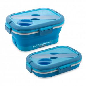 Caserola electrica pentru incalzirea pranzului Macom, albastru, 0,8 L, 10 x 21 x 16 cm