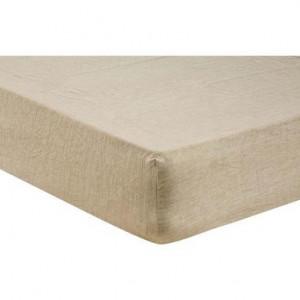 Cearsaf pat cu elastic Puro din in culoarea nisipului, 140x200