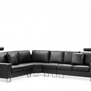 Coltar Stockholm, piele, negru, 103 x 290 x 235 cm