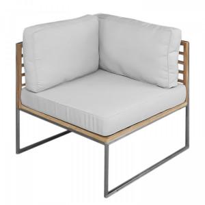 Coltar Teakline Exklusiv tesatura/lemn masiv/otel inoxidabil, alb, 74 x 70 x 70 cm
