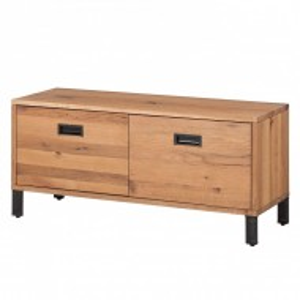 Comoda Forunas, lemn masiv de stejar salbatic/metal, maro, 100 x 45 x 35 cm