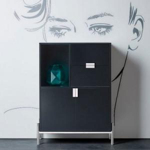 Comoda inalta Inosign, MDF negru, 90 x 40 x 120 cm