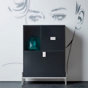 Comoda inalta Inosign Yuri, MDF negru/ metal cromat, 90 x 40 x 120 cm