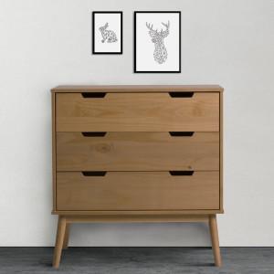 Comoda Trujillo, lemn de pin, maro, 87 x 80 x 40 cm