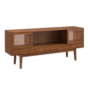 Comoda TV Credenza, lemn masiv/MDF, maro, 178 x 76 x 43 cm